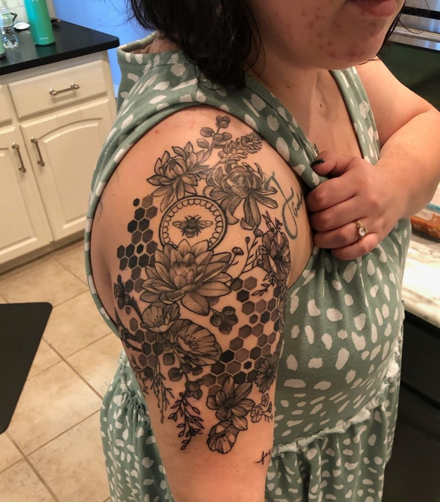 Bee and flower Tattoo